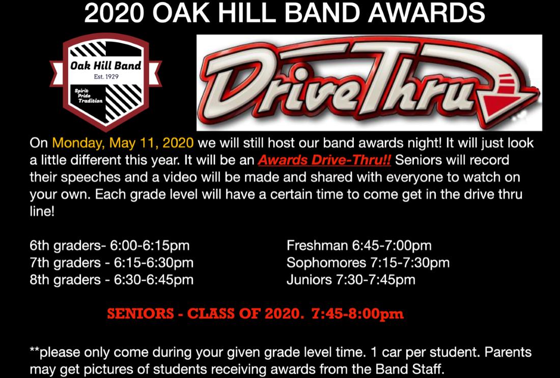 Drive through Band Awards May 11th